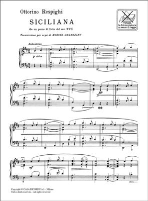 Ottorino Respighi: Siciliana (Da Un Pezzo Di Liuto Del Sec. Xvi): Harp