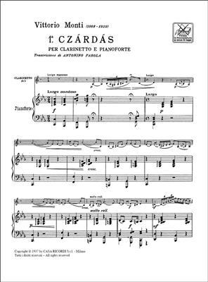 Vittorio Monti: Czárdás 1: Clarinet