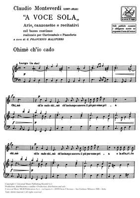Claudio Monteverdi: A Voce Sola: Vocal