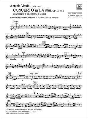 Antonio Vivaldi: Concerto in la minore (a minor) Op.III, 6: Arr. (Michelangelo Abbado): Violin