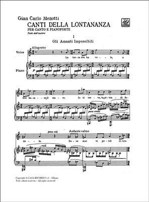 Gian Carlo Menotti: Canti Della Lontananza: Voice