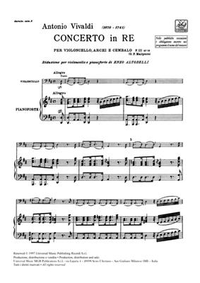 Antonio Vivaldi: Concerto Per Vc., Archi E B.C.: In Re Rv 403: Cello