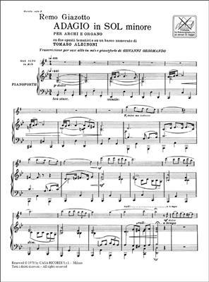 Tomaso Albinoni: Adagio In Sol Min. Per Archi E Organo: Saxophone
