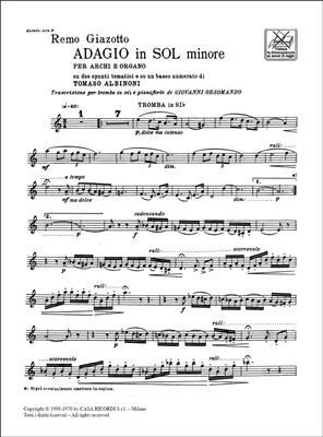 Tomaso Albinoni: Adagio In Sol Min. Per Archi E Organo: Trumpet, Cornet or Flugelhorn