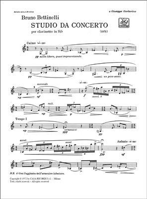 Bruno Bettinelli: Studio Da Concerto: Clarinet