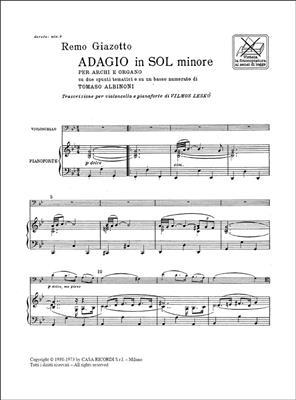Tomaso Albinoni: Adagio In Sol Min. Per Archi E Organo: Cello
