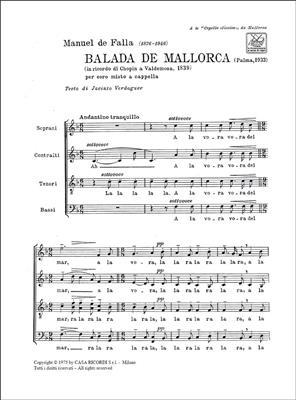 Manuel de Falla: Balada De Mallorca Per Coro Misto A Cappella: Mixed Choir