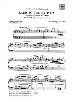 Ottorino Respighi: Laud To The Nativity: Vocal