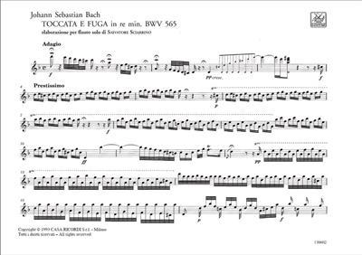 Johann Sebastian Bach: Toccata E Fuga In Re Min. Bwv 565: Flute