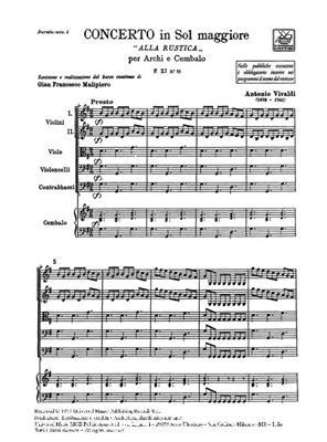 Antonio Vivaldi: Concerto Per Archi E B.C.: In Sol 'Alla Rustica': String Ensemble