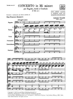 Antonio Vivaldi: Concerto per Fagotto, Archi e BC in Mi Min Rv 484: Bassoon