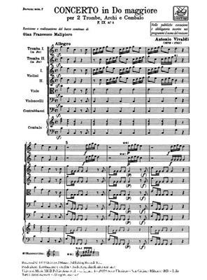 Antonio Vivaldi: Concerto in Do Maggiore F. IX, no 1: Orchestra