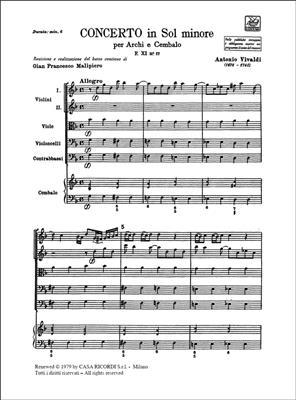 Concerto in Sol Minore per Archi e Cembalo