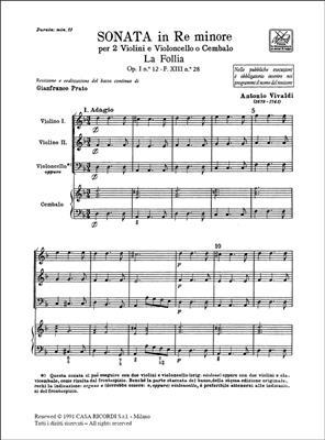 Antonio Vivaldi: Sonata per 2 violini e BC Re Min Rv 63 'La Follia': Violin Duet