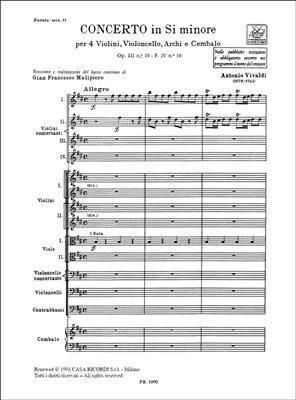 Antonio Vivaldi: Concerto In Si Minore Op. III N. 10 RV 580: Violin