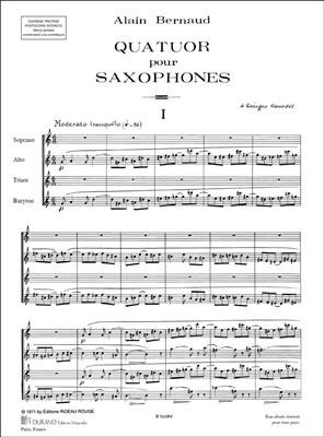 Alain Bernaud: Quatuor Saxos Partition : Saxophone Ensemble