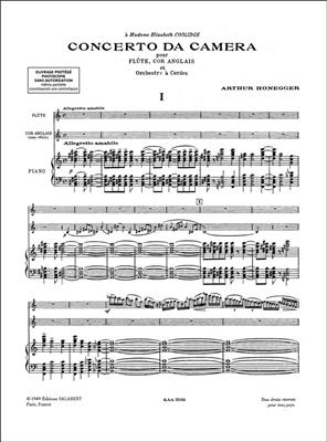Arthur Honegger: Concerto Da Camera Flute-Cor-Ang-Piano Reduction: Flute