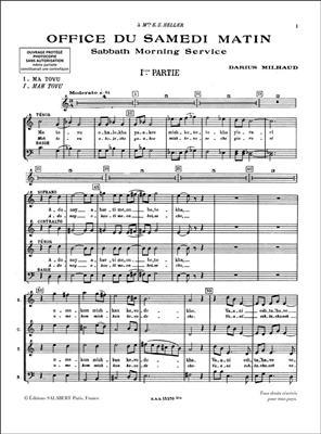 Darius Milhaud: Service Sacré Pour Le Samedi Matin: Mixed Choir